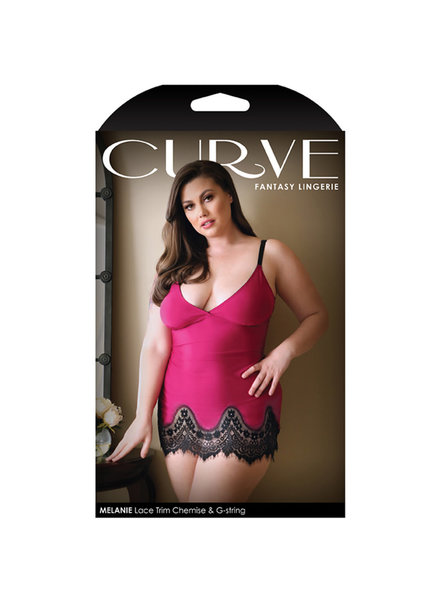 Curve Melanie Lace Trim Chemise and G-String