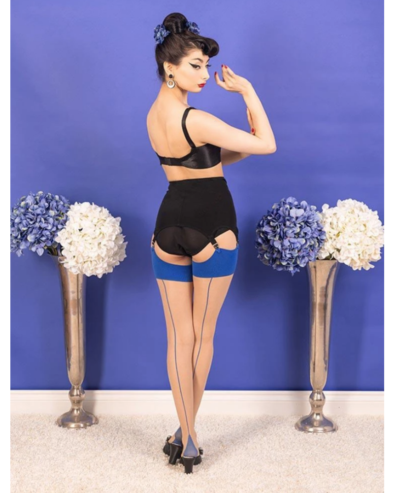 Whatkatiedid Seamed Stockings Blue Glamour