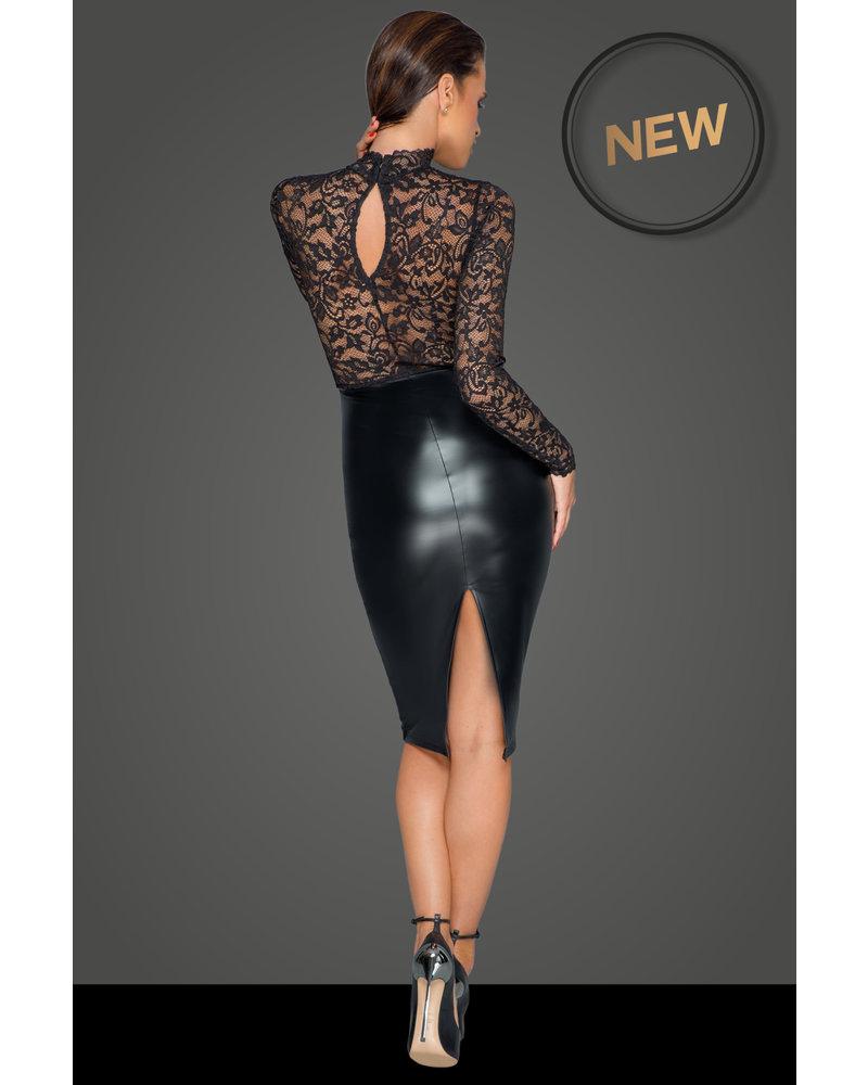 Noir Handmade Midi dress with soft lace top