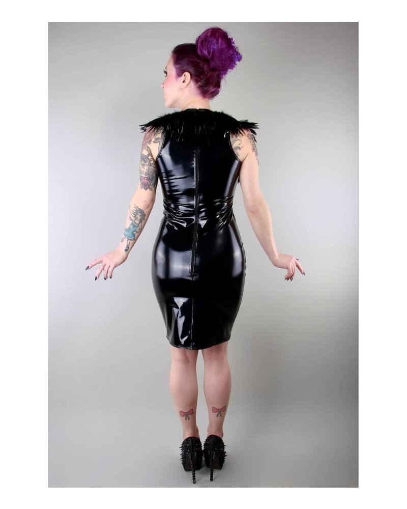 Peter Domenie Feather goddess short dress