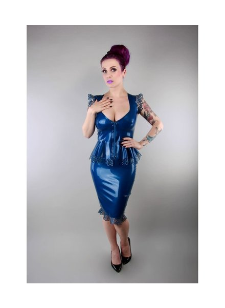 Peter Domenie M. Blue latex skirt with lace trim