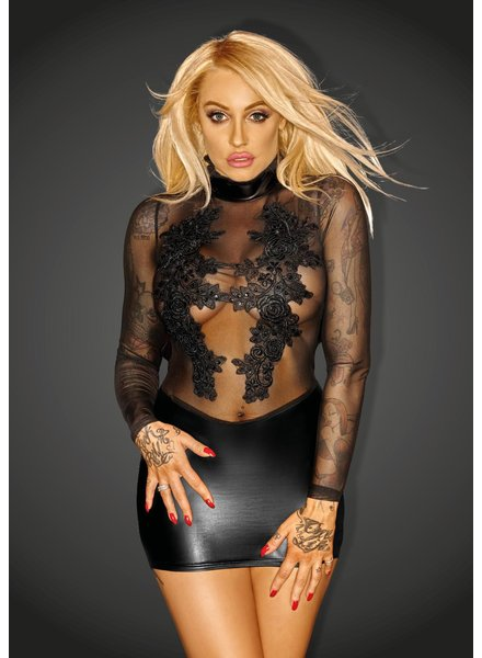 Noir Handmade Minidress with lace and sheer top