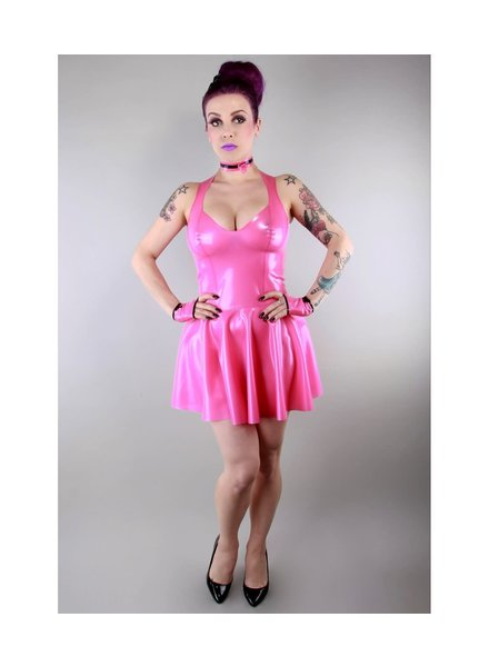 Peter Domenie Bubble Gun Pink latex dress with flared skirt