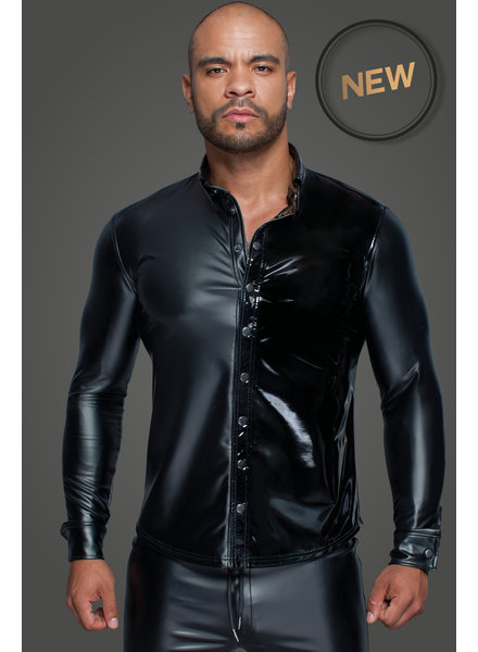 Noir Handmade Long-sleeved Powerwetlook & PVC shirt with button placket
