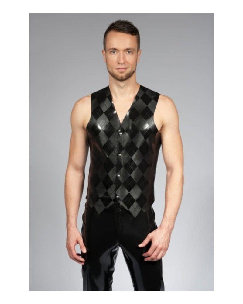 Peter Domenie Latex Vest with Argyle pattern