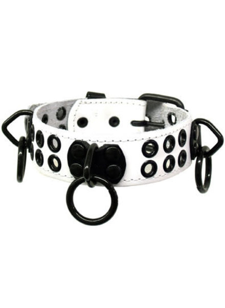 Kookie Bondage Collar With Rings And Rivets