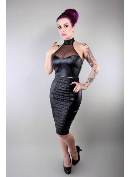 Peter Domenie Pencil skirt with houndstooth pattern.