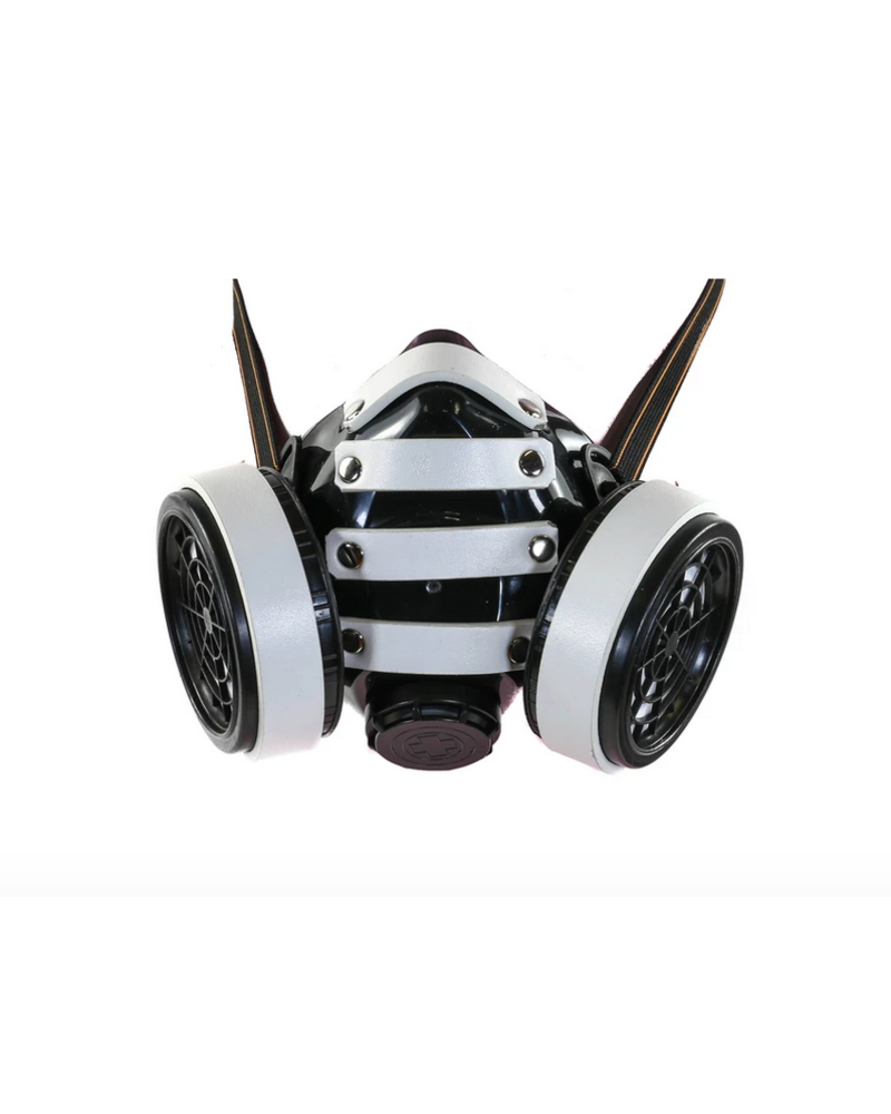 Gas mask with stripes