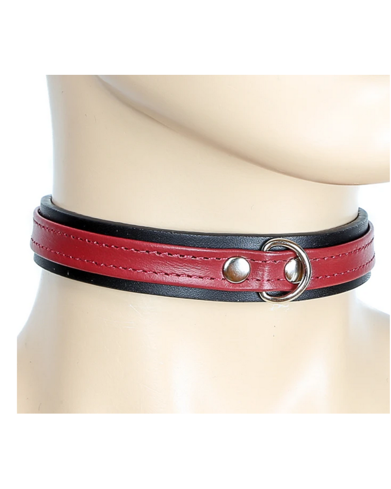 Thin Leather Strap Choker with D ring
