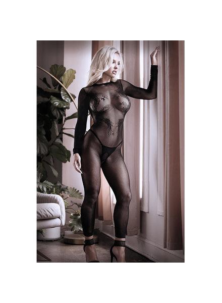 fantasy lingerie Sheer Unleash Me Long Sleeve Dragon Knit footless Bodystocking
