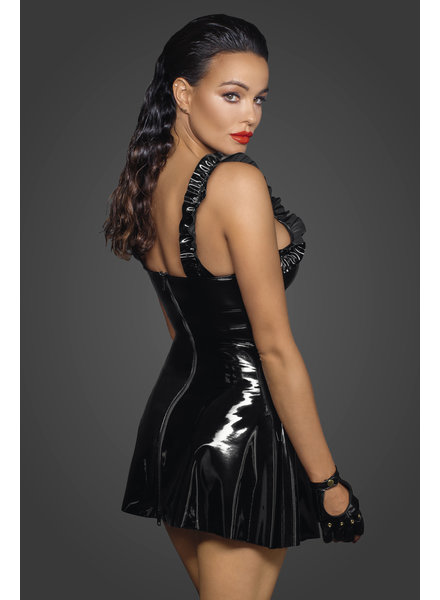 Noir Handmade Short PVC dress with frilled shoulder straps