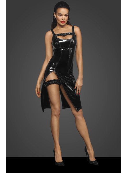 Noir Handmade PVC midi dress with zipper in the front