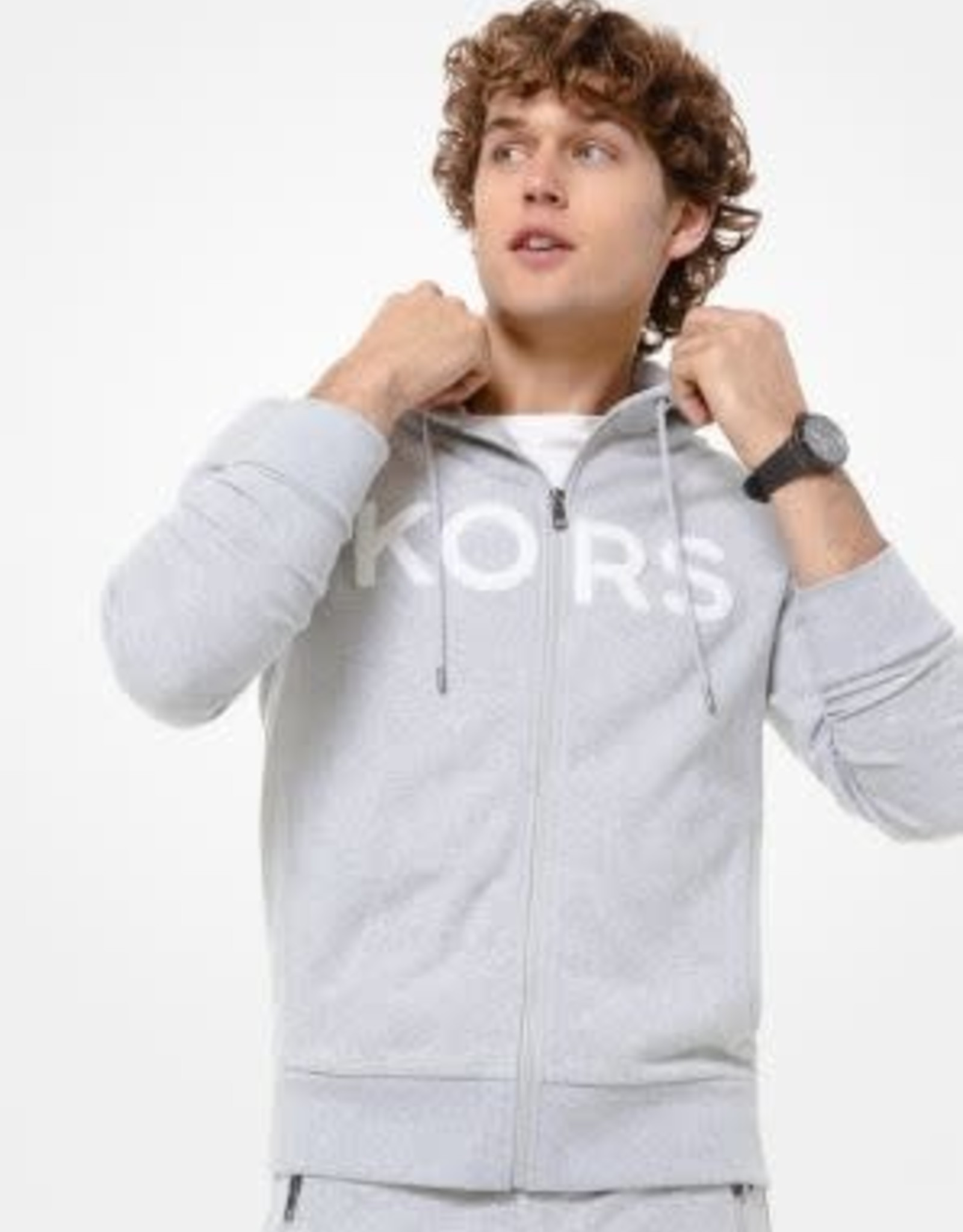 Michael Kors MK Cotton Blend Zip-Up Hood