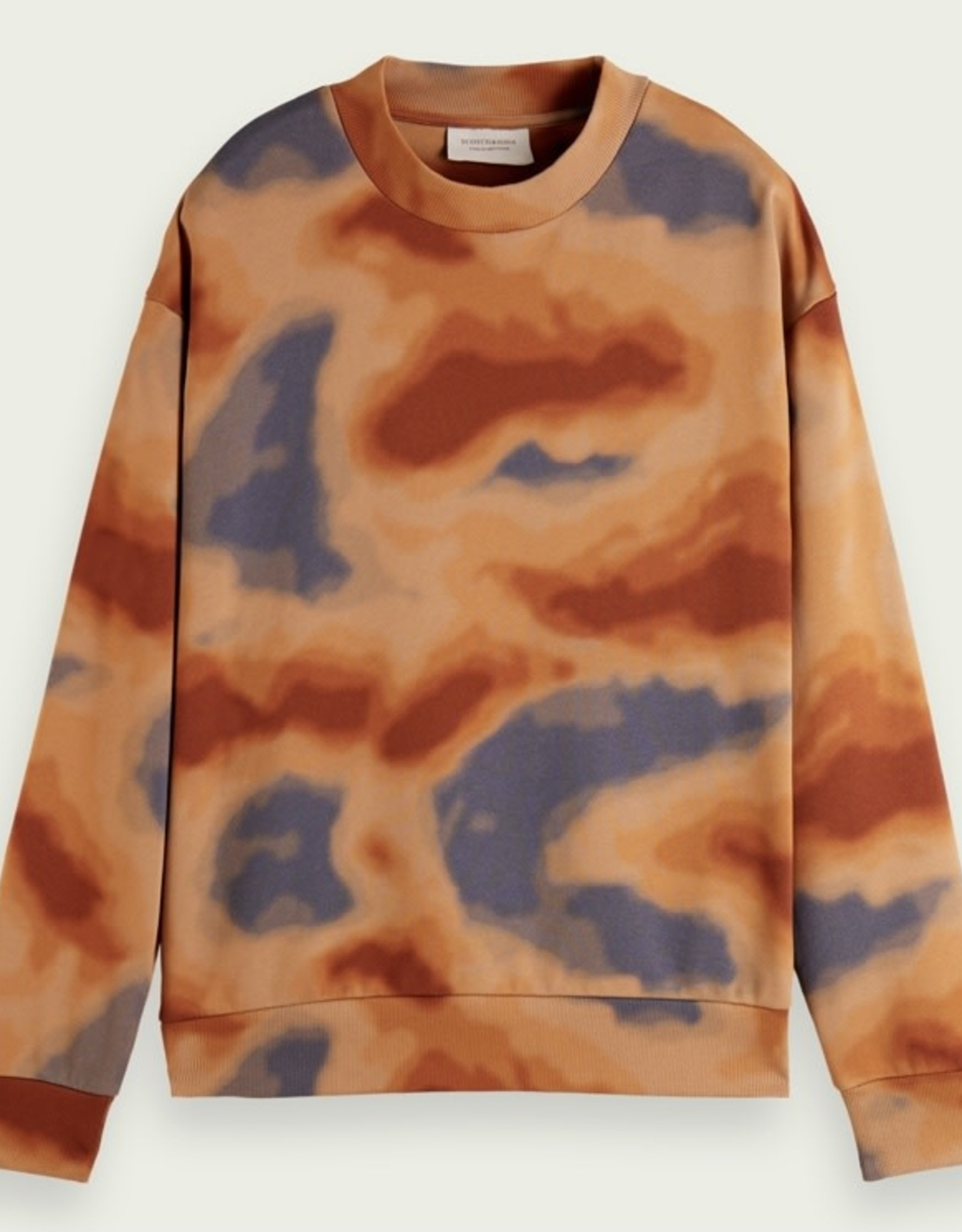Scotch & Soda SS ALL OVER PRINT RELAXED-FIT CREWNECK ORANGE DYE