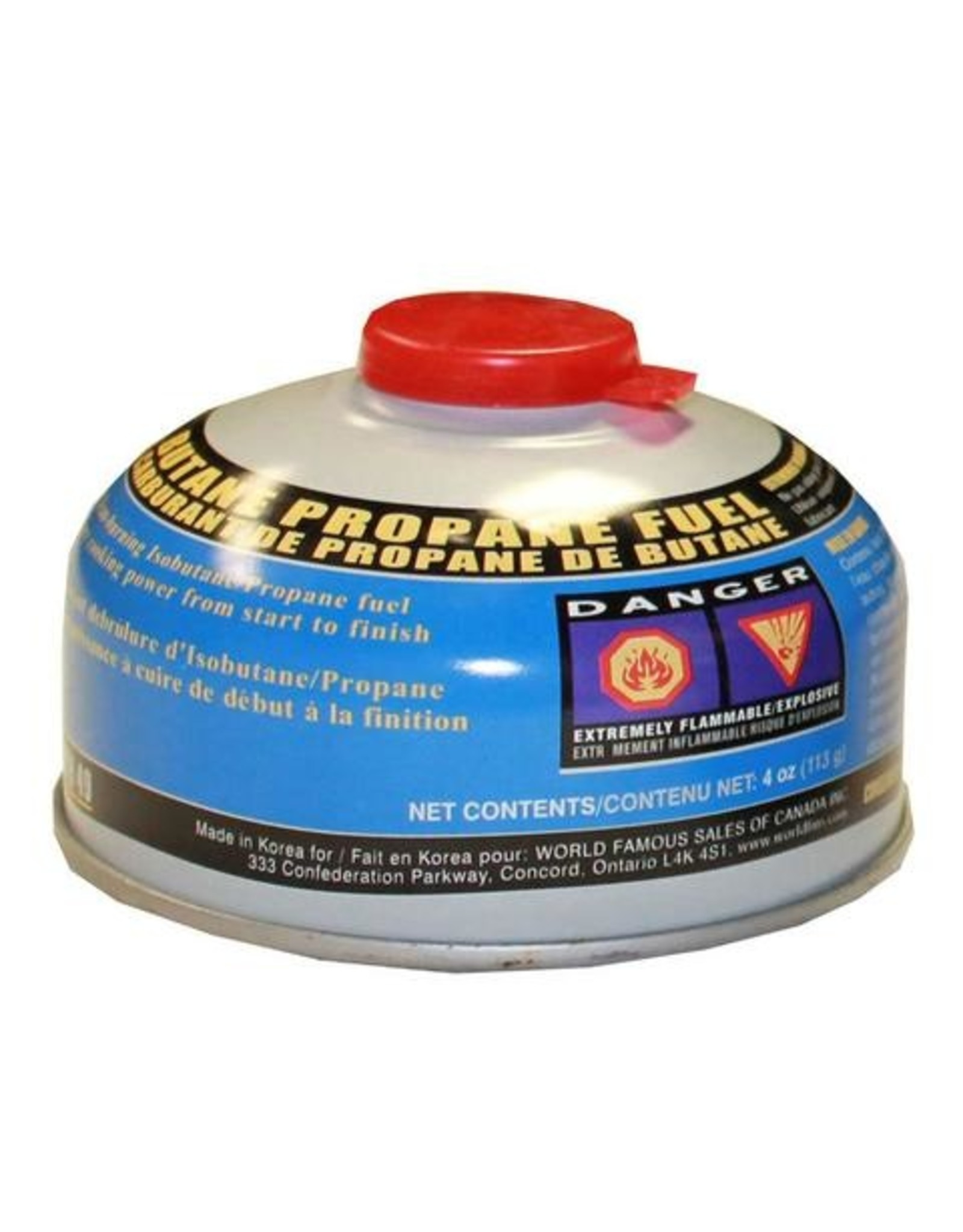 WORLD FAMOUS SALES BUTANE PROPANE FUEL-4 oz