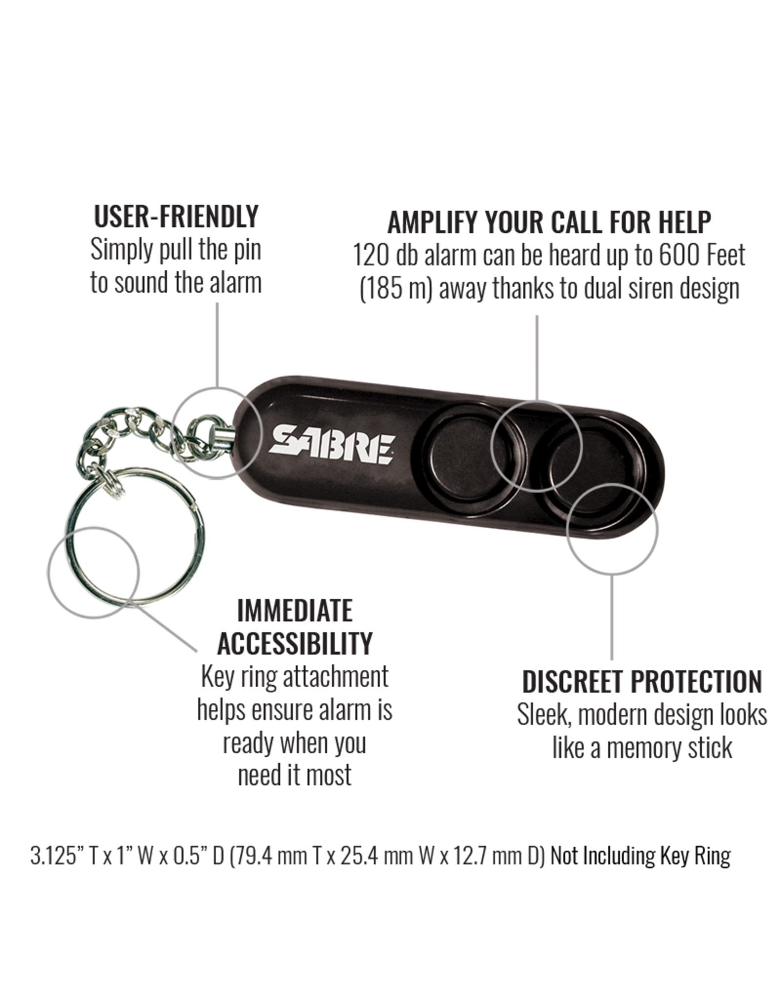 SABRE RUNNER PERSOINAL ALARM W/ ADJUSTABLE WRIST STRAP