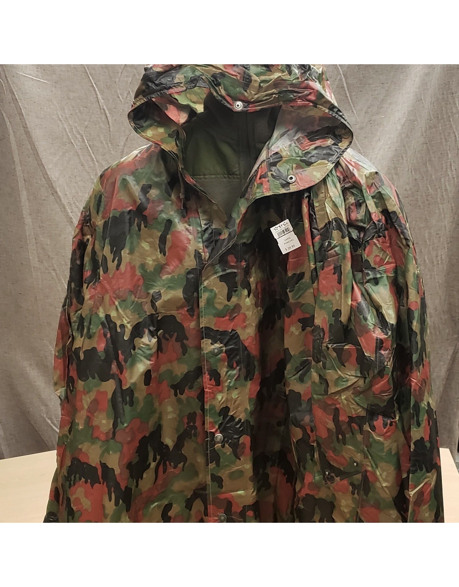 MAJOR SURPLUS SWISS MILITARY ALPENFLAGE CAMO PONCHO- USED