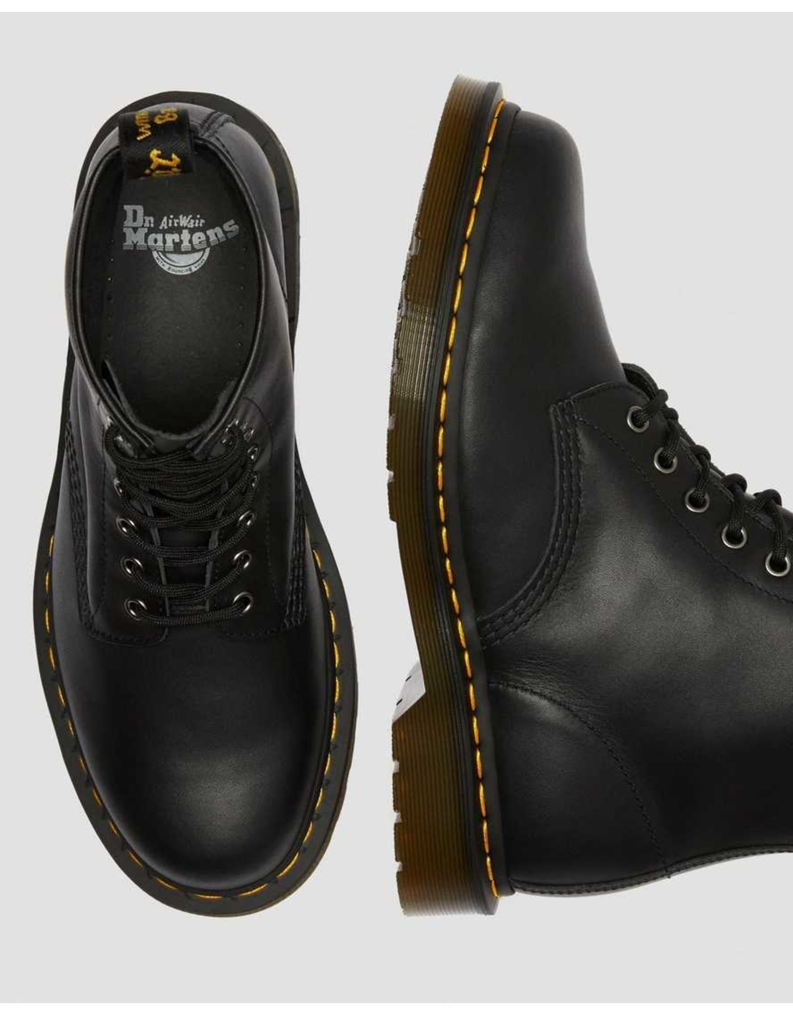 DR. MARTENS DR. MARTENS BLACK NAPPA LEATHER LACE UP BOOTS
