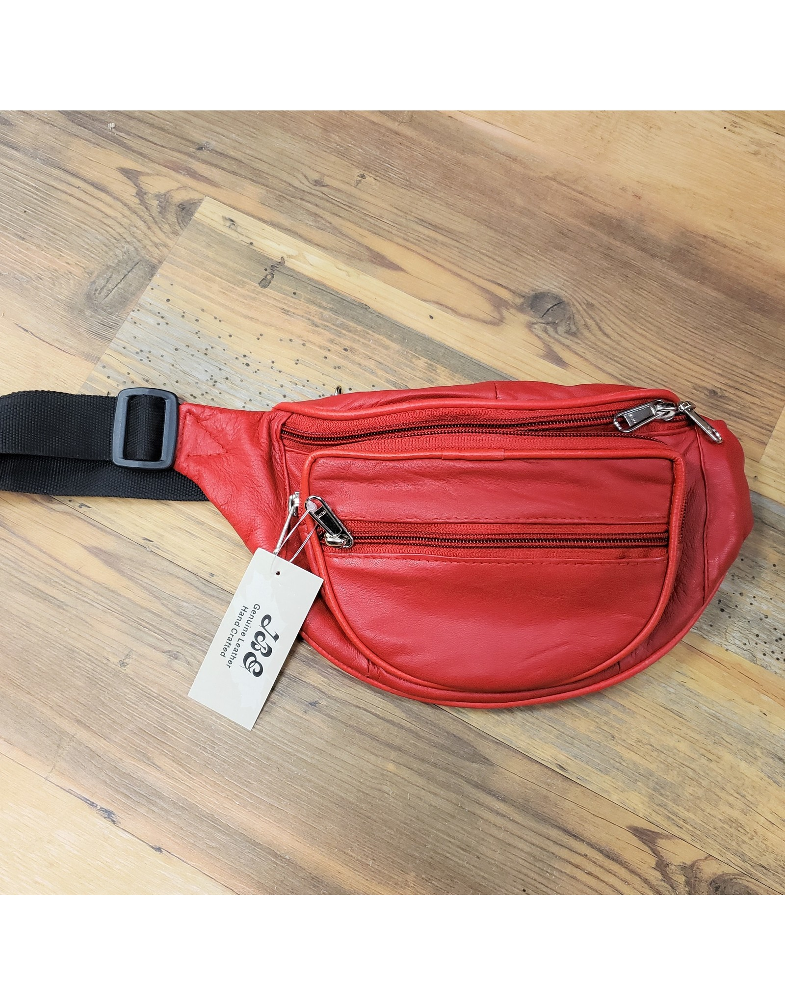 JBE LEATHER LEATHER WAIST POUCH 015LS-RED