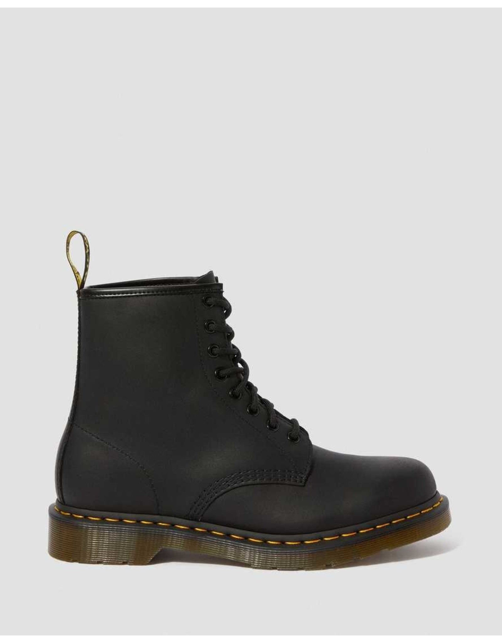 DR. MARTENS DR. MARTENS BLACK GREASY LEATHER LACE UP BOOTS