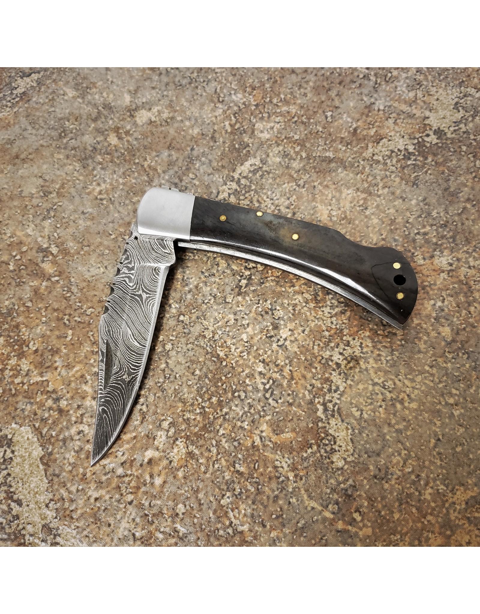 """DAMASCUS 3.5"""" FOLDING KNIFE ASH GREY/WOOD HANDLE"""