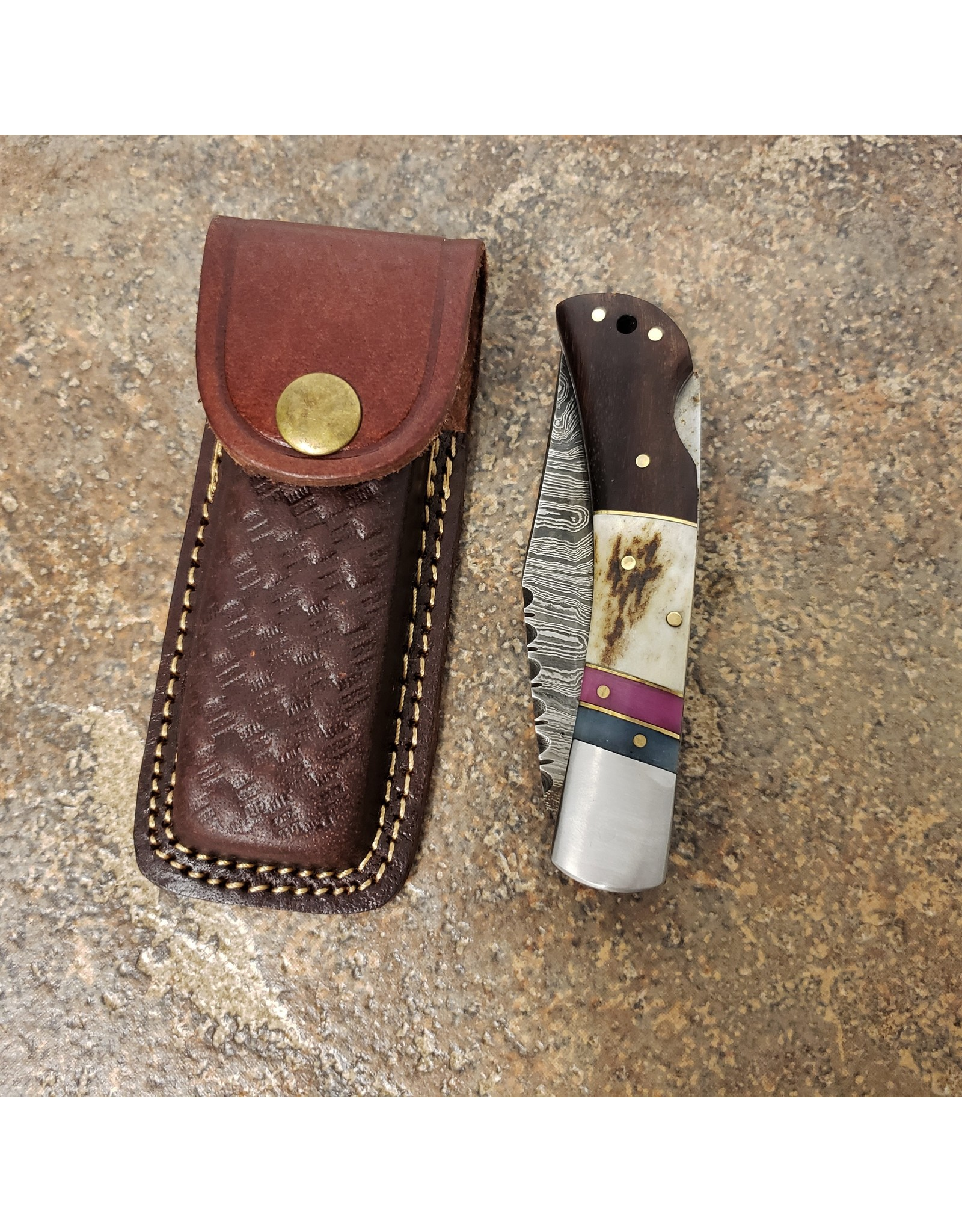 "DAMASCUS 4"" FOLDING KNIFE BROWN/WHITE HANDLE"