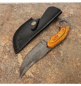 "DAMASCUS 4"" HUNTING KNIFE LIGHT BROWN HANDLE"