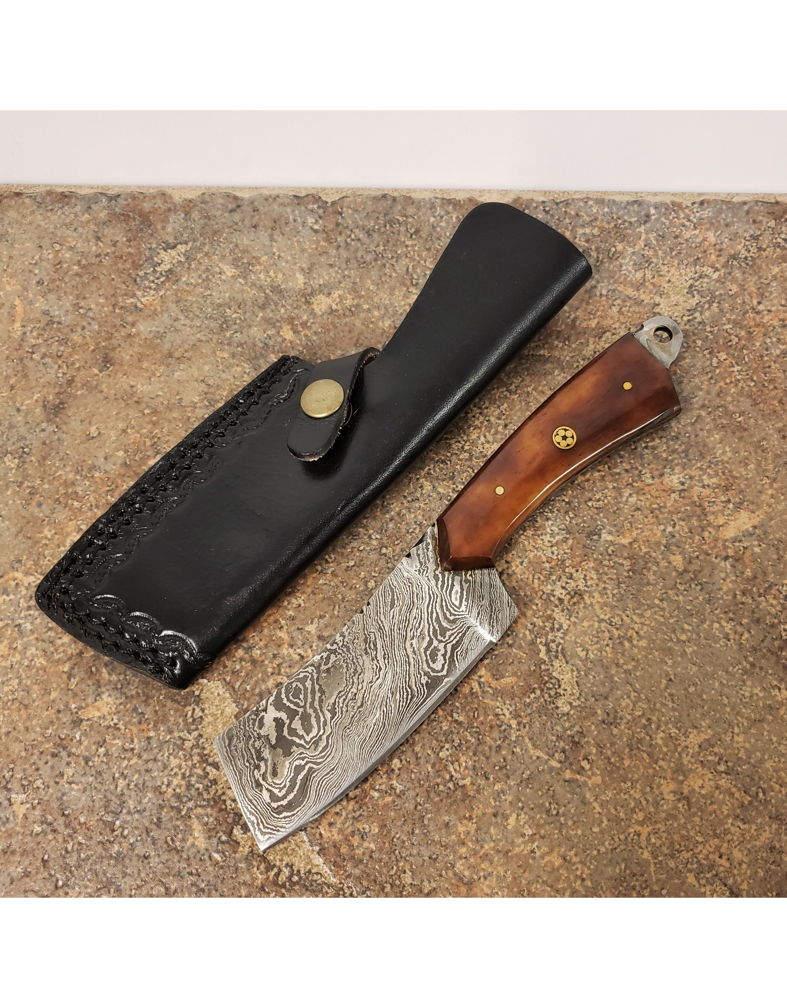 "DAMASCUS 4"" CLEAVER KNIFE BROWN HANDLE"
