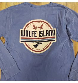 BLUE LONG SLEEVE WOLFE ISLAND SHIRT