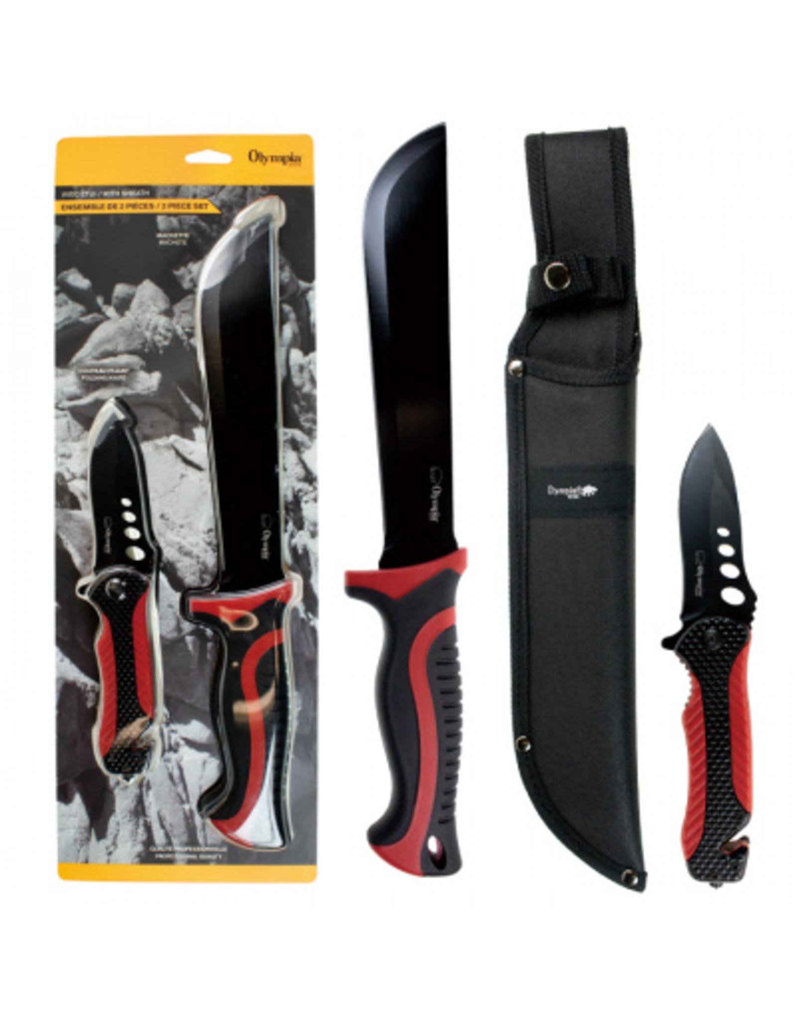 CIRCLE IMPORTS OLYMPIC 2PC KNIFE SET RED/BK