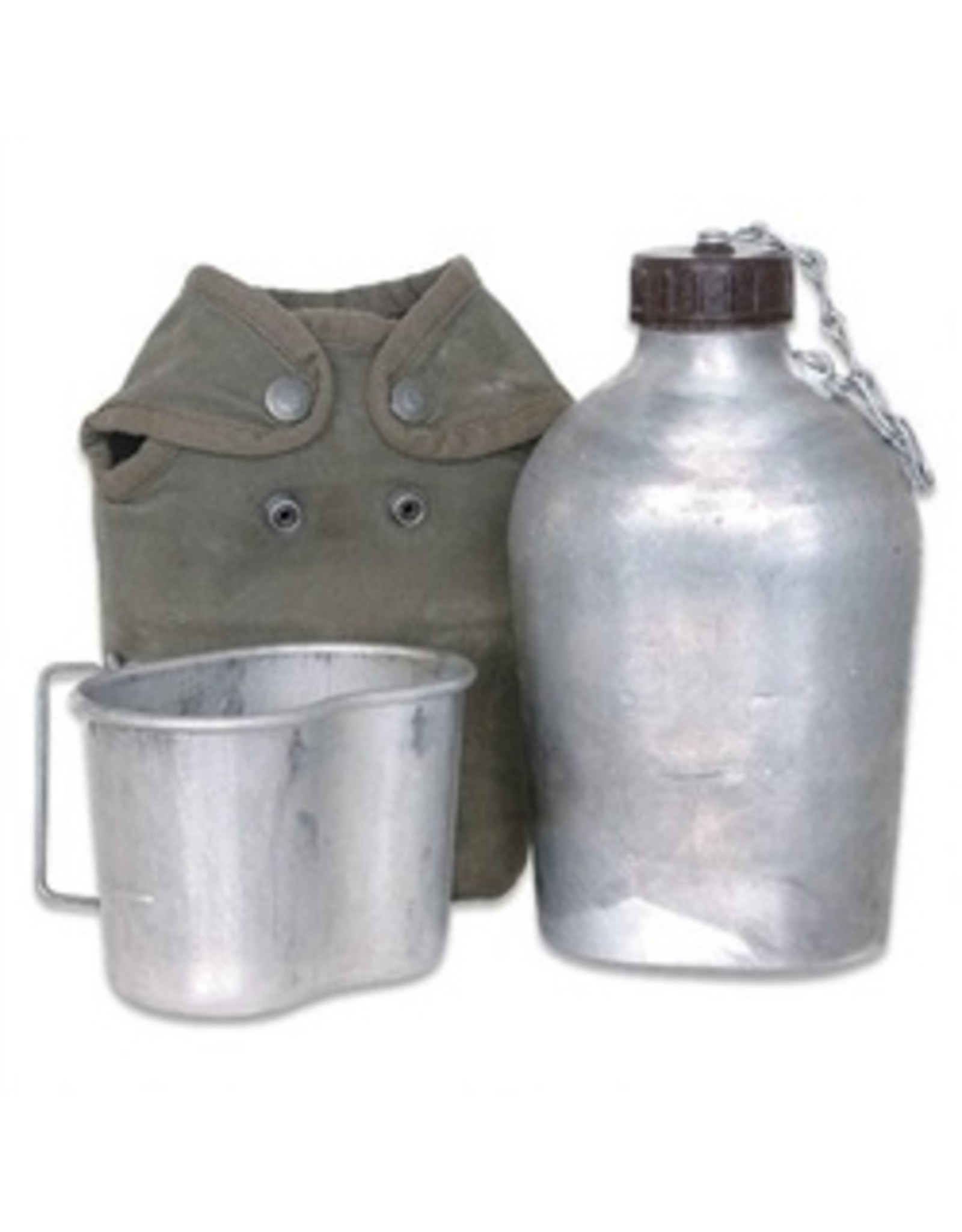 EUROPEAN SURPLUS FRENCH ALUMINUM CANTEEN W/ CUP & COVER-USED