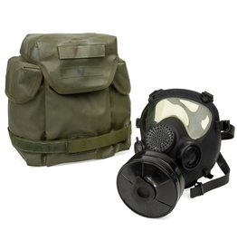 SWISS LINK ARF-A BLACK GAS MASK W/ OLIVE BAG &FILTER