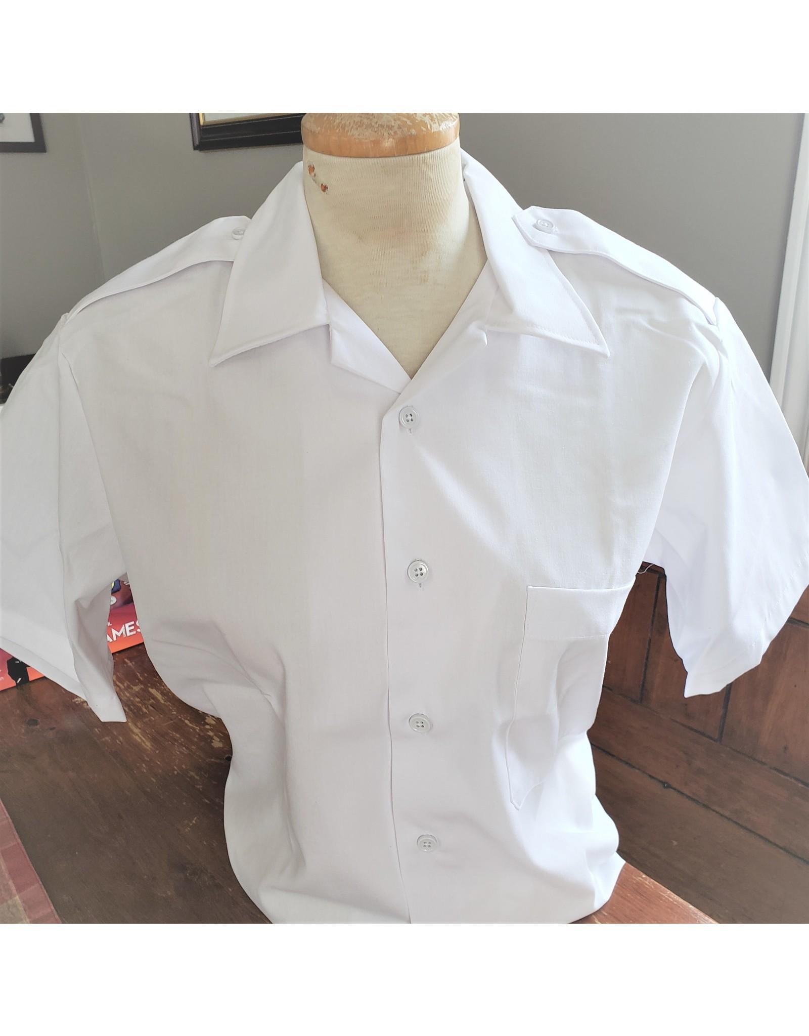CANADIAN SURPLUS MEN'S WHITE DRESS SHIRT SHORT SLEEVE-USED