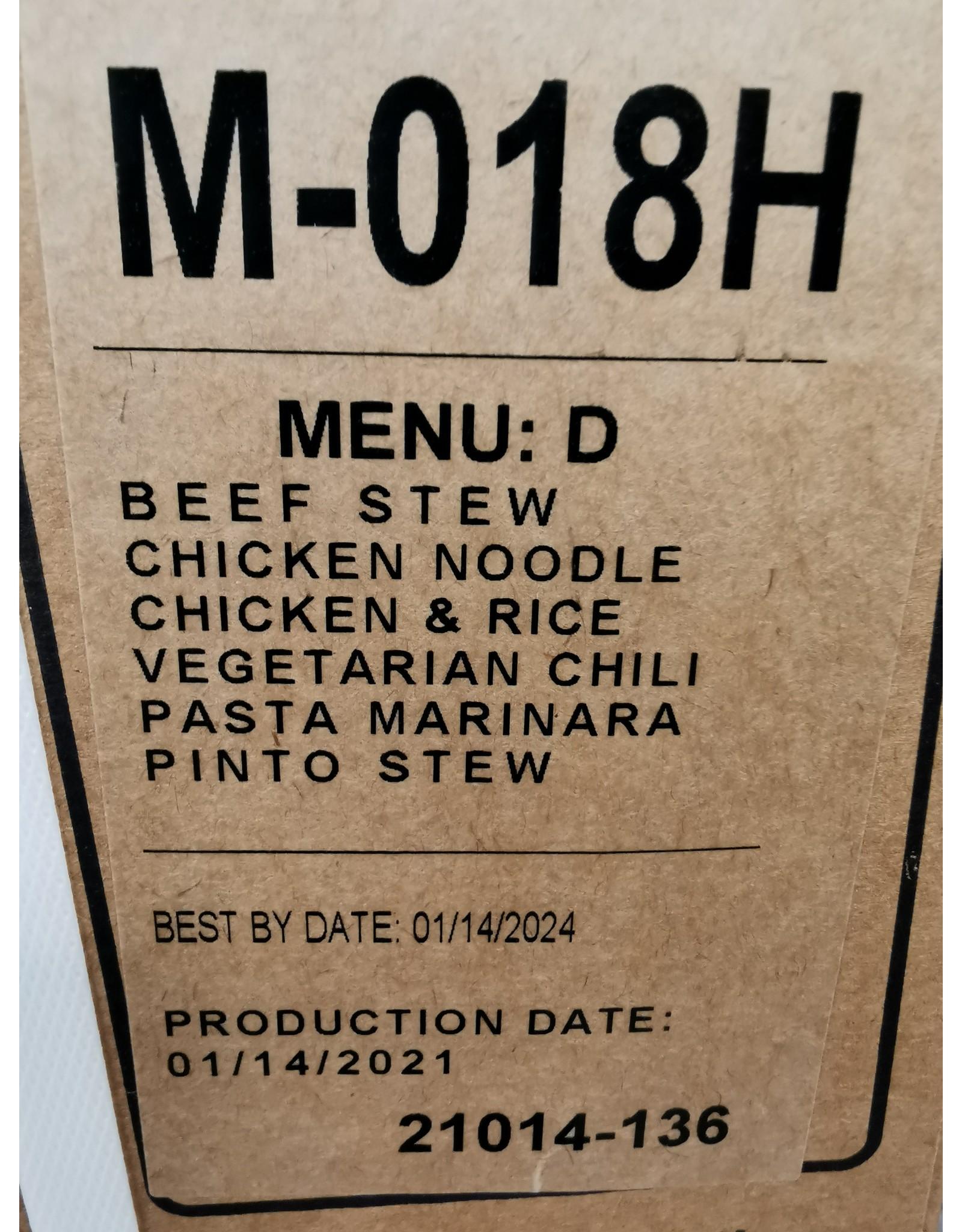 NORTH SYLVA MRE (MEAL READY TO EAT)  CASE MENU D
