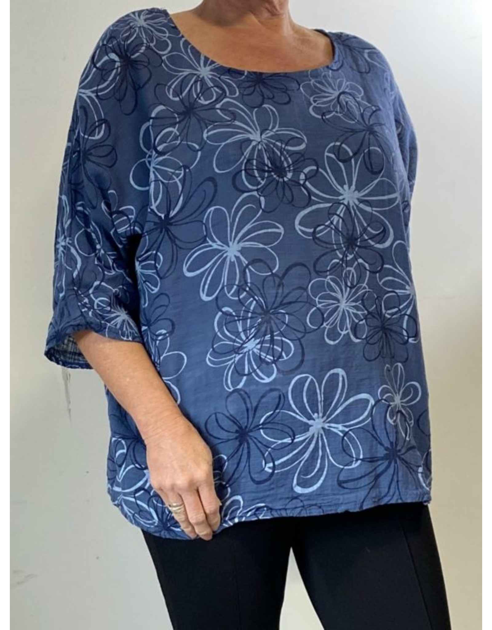PLUM LOCO 6679 FLOWER PRINT TOP