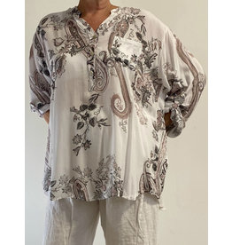 PLUM LOCO 2252 PAISLEY FLOWER TUNIC BLOUSE