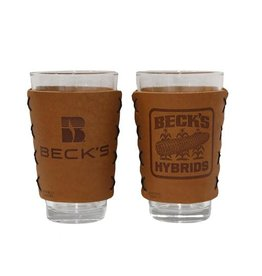 Oowee 02271 Glass Cup with Leather Sleeve (Set of 2)