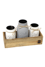 N/A 01816 Painted Mason Jar Set in Wood Box