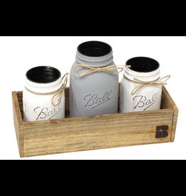 N/A Painted Mason Jar Set in Wood Box