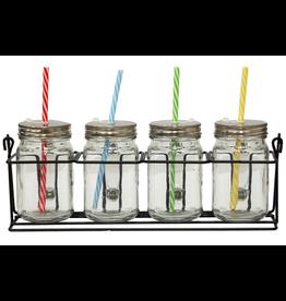 CyberGroup 4-Piece Glass Mugs w/holder