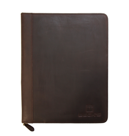 Cambridge Zippered Senior Portfolio - Rustic Brown Leather