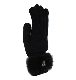 Ladies Rabbit Fur Trim Gloves