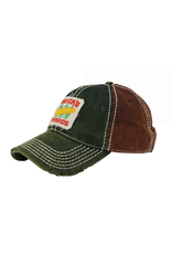 N/A Beck's Heavy Washed Green/Brown Patch Hat
