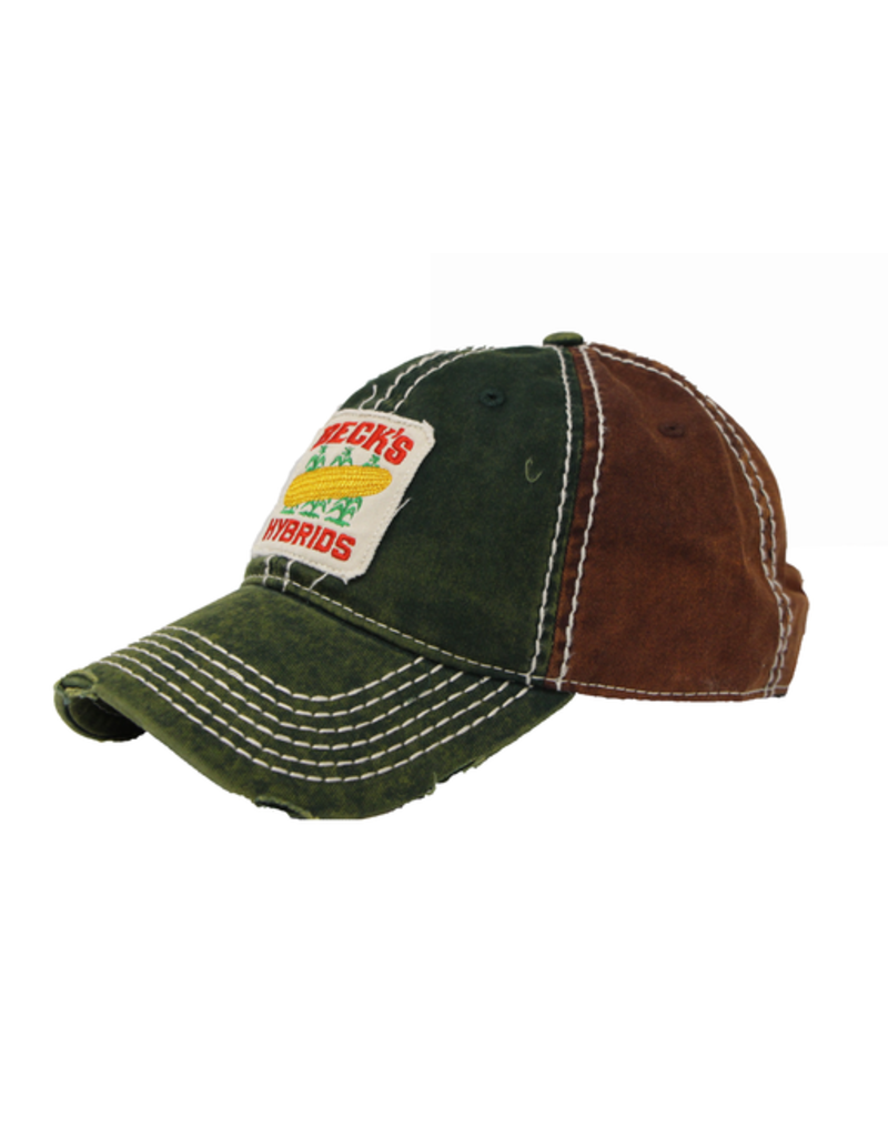 N/A Heavy Washed Green/Brown Patch Hat