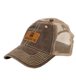 Beck's Pigment Dyed Mesh Hat w/faux leather patch