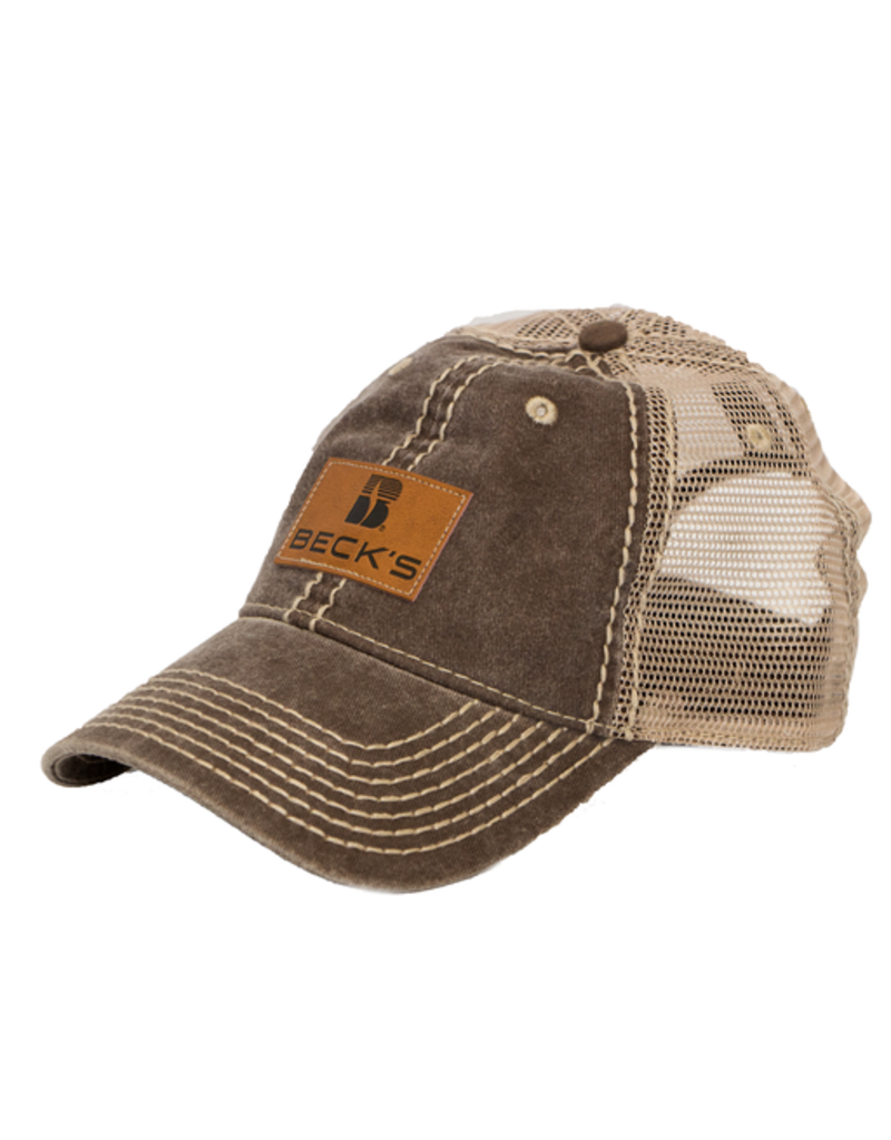 Pigment Dyed Mesh Hat w/l Faux Leather Patch