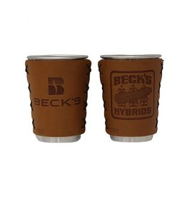 Oowee 02269 Stainless Steel Cup with Leather Sleeve, Vintage Logo, Pint