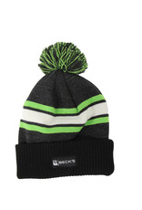 Pom Beanie Gray/Lime/Black/White
