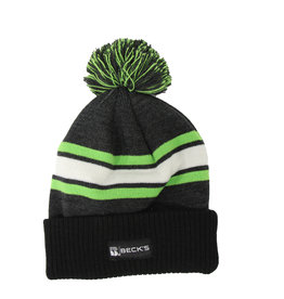 Gray/Lime/Black Pom Beanie