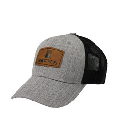 N/A Faux Leather Patch Mesh Hat